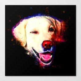 labrador retriever dog winking splatter watercolor Canvas Print