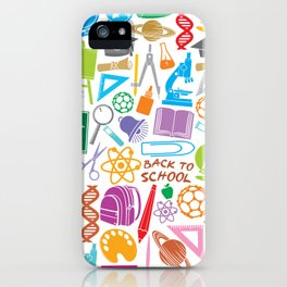 education and school icons background (seamless pattern) iPhone Case