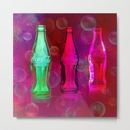 Three Cokes in Cherry Red Metal Print