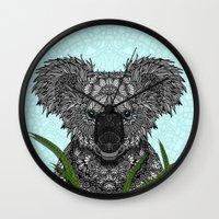 koala Wall Clocks featuring Koala by ArtLovePassion