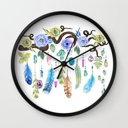 Wild Wood Roses And Twisted Branches Spirit Gazer Wall Clock