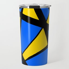 Yellow and Blue Triangles Abstract Travel Mug