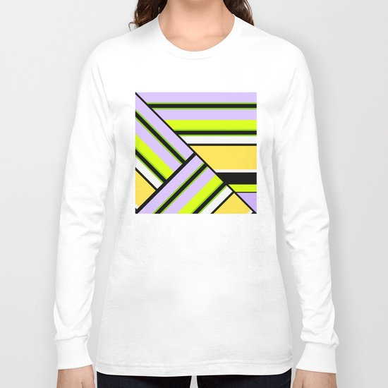 Striped , multi-colored , asymmetric combination pattern . Patchwork . Long Sleeve T-shirt