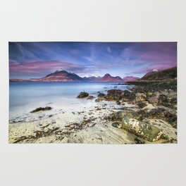 Beach Scene - Mountains, Water, Waves, Rocks - Isle of Skye, UK Rug