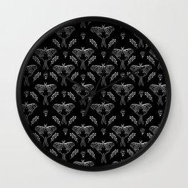 Luna Moth linocut minimal black and white pattern basic botanical nature Wall Clock