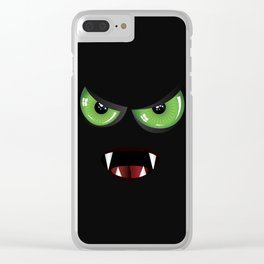 Evil face with green eyes Clear iPhone Case