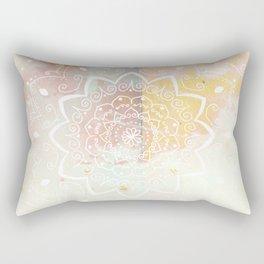 Namaste white mandala on pink Rectangular Pillow