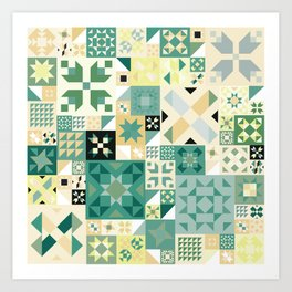 Teal Quilt Pattern Art Print