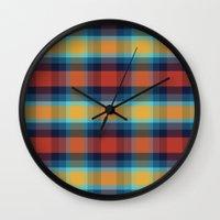 plaid Wall Clocks featuring Plaid by Sierra Neale