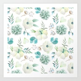 Trendy white blue teal hand painted watercolor flowers Art Print