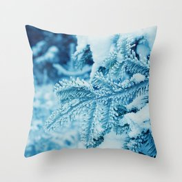 Winter Photography - Snow Covered Spruce Tree Throw Pillow