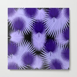 PALM LEAF ABSTRACT PATTERN ULTRA VIOLET Metal Print