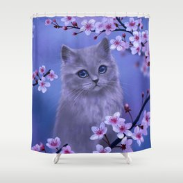 Spring kitten Shower Curtain