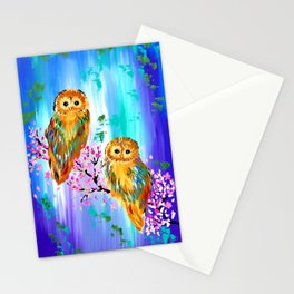 2 Owls with Cherry Blossom Stationery Cards