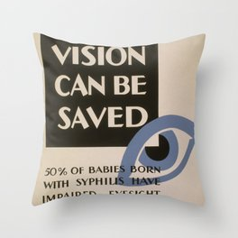 Vintage poster - Vision Can Be Saved Throw Pillow