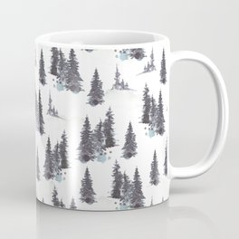 White Snowy Winter Mountains Watercolor Landscape Pattern  Coffee Mug