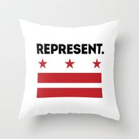 dc Throw Pillows featuring Represent DC by SquibInk