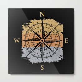 Compass Navigation North South Metal Print