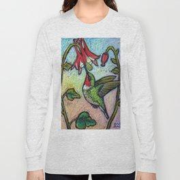 Rubythroat and Red Columbine Long Sleeve T-shirt