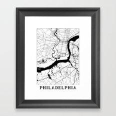 Philadelphia Minimal Map Framed Art Print