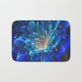 3D Blue Flower V4 Bath Mat