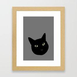 can I pet your cat? no. black cat portrait Framed Art Print