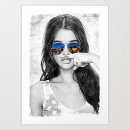 Bowery Mustache Girl Art Print