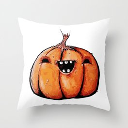 Halloween Pumpkin with Open mouth Smile Throw Pillow