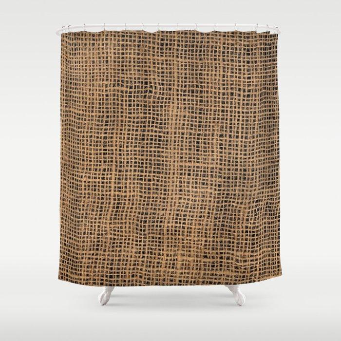Burlap Grid Shower Curtain