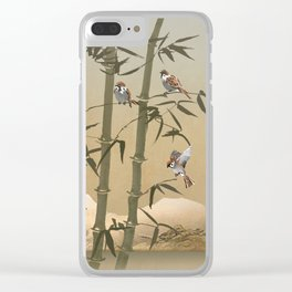 Sparrows And Bamboo Clear iPhone Case