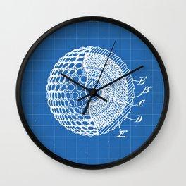 Golf Ball Patent - Golfer Art - Blueprint Wall Clock