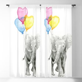 Elephant Watercolor with Balloons Rainbow Hearts Baby Animal Nursery Prints Blackout Curtain