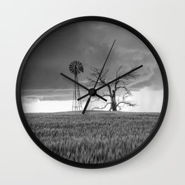 Blowing in the Wind - Black and White Windmill and Dead Tree with Storm in Oklahoma Wall Clock