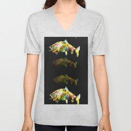 FATHER  LIKES FISH AND BOURBON POP ART Unisex V-Neck