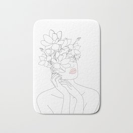 Minimal Line Art Woman with Magnolia Bath Mat