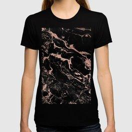 Modern girly faux rose gold foil black marble T-shirt