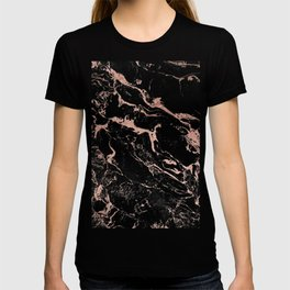 Modern girly faux rose gold foil black marble T-shirt