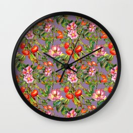 Artistic hand painted pink red watercolor botanical roses pattern Wall Clock