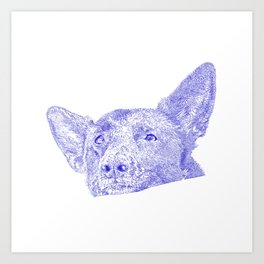 Mitzi takes it easy, blue Art Print