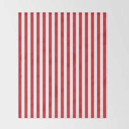 Vertical stripes - red and white Throw Blanket