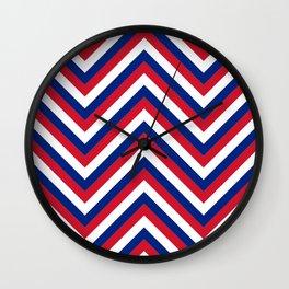 UK Union Jack Red White and Blue Jumbo Chevron Stripes Wall Clock