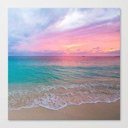 Aerial Photography Beautiful: Turquoise Sunset Relaxing, Peaceful, Coastal Seashore Canvas Print