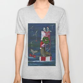 Christmas Seal and Friends Unisex V-Neck
