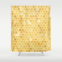 honeycomb Shower Curtains featuring Honeycomb by Melissa Shipley