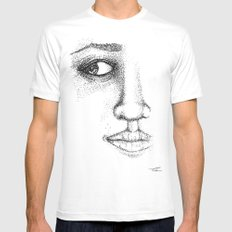 Fine Liner Stippling Girl 1 White MEDIUM Mens Fitted Tee