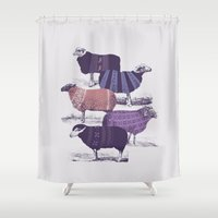 animals Shower Curtains featuring Cool Sweaters by Jacques Maes