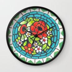 Floral Mosaic Brooch Wall Clock