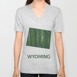 Wyoming map outline Deep moss green watercolor Unisex V-Neck
