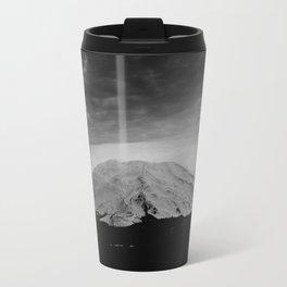 Mount Saint Helens Black and White Travel Mug