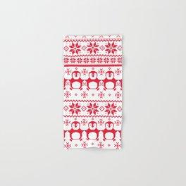Red Scandinavian Penguin Holiday Design Hand & Bath Towel